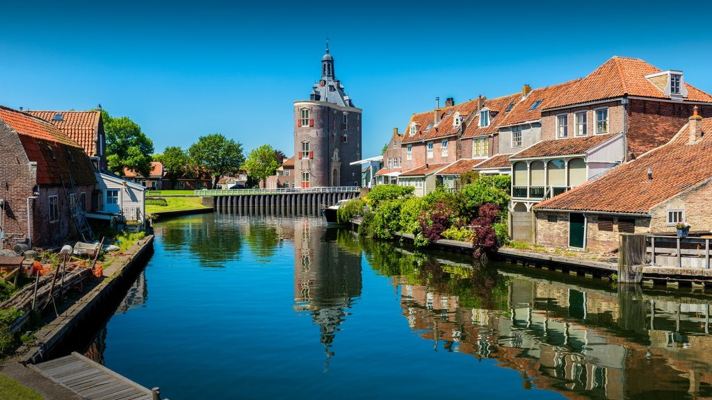 Houses along canal in Enkhuizen,  North Holland, West-Frisia, Netherlands