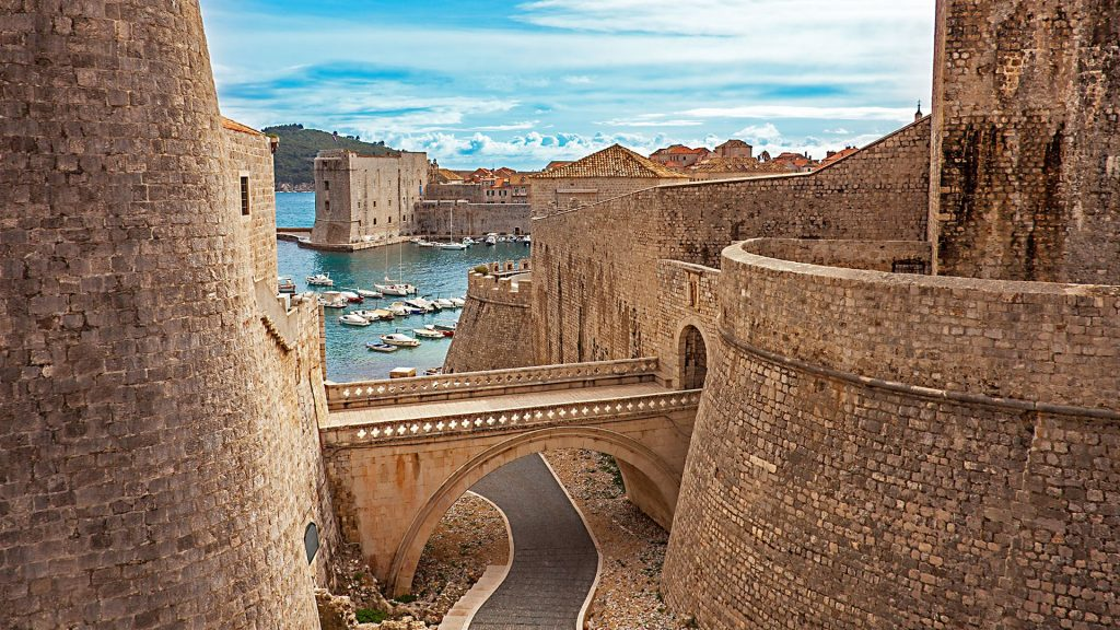 Old town and harbor, Revelin Fortress bridge, Dubrovnik, Croatia