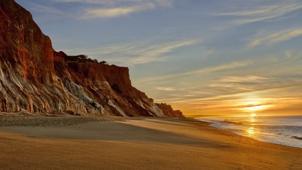 Praia da Falésia cliffs and beach at dawn, Albufeira, Algarve, Faro, Portugal