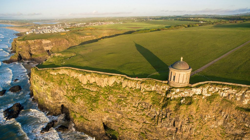 Mussenden temple near Castlerock aerial view, Londonderry, Northern Ireland, UK