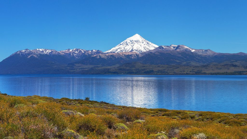 Lake Huechulafquen with volcano in Lanín National Park, Patagonia, Argentina