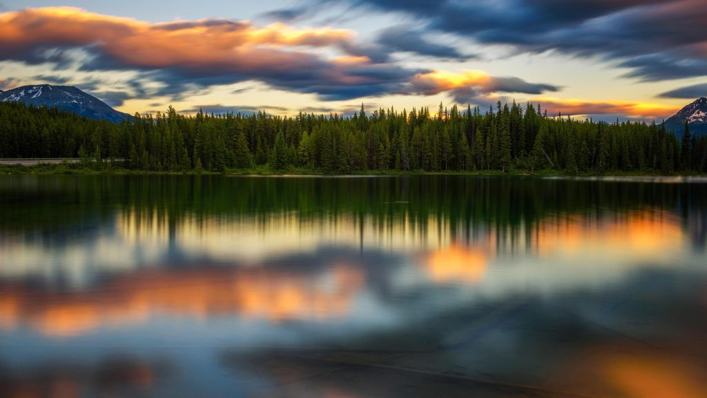 Sunset over Herbert Lake at Icefields Parkway in Banff National Park, Alberta, Canada