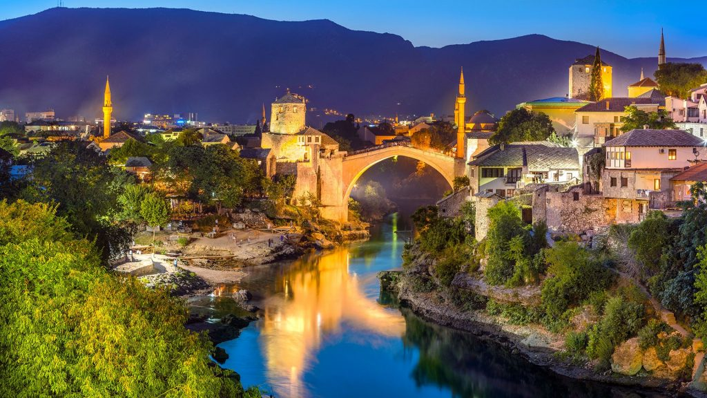 Stari most bridge across Neretva River in Mostar, Bosnia and Herzegovina