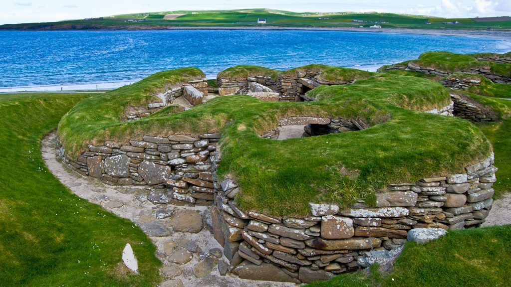 Stone-age settlement Skara Brae in the Bay of Skaill, Orkney Islands, Scotland, UK