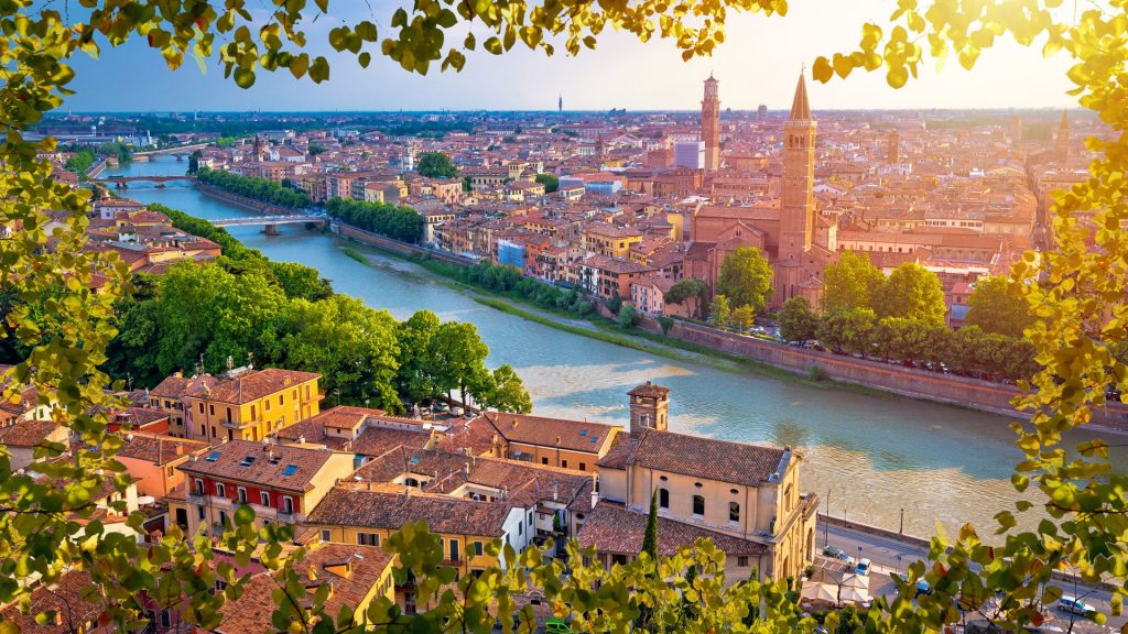 City of Verona and Adige river aerial view through leaf frame, Veneto, Italy