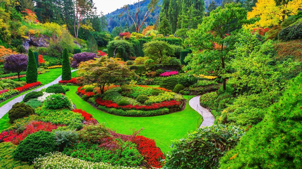 The Sunken Garden in Butchart Gardens, near Victoria on Vancouver Island, British Columbia, Canada