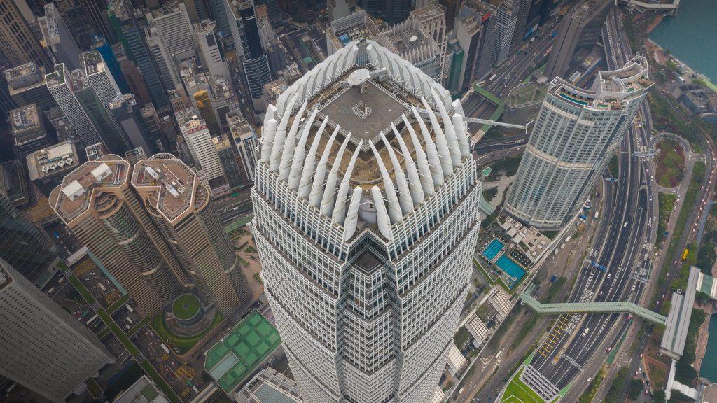 International Finance Centre aerial view at sunset, Hong Kong Island