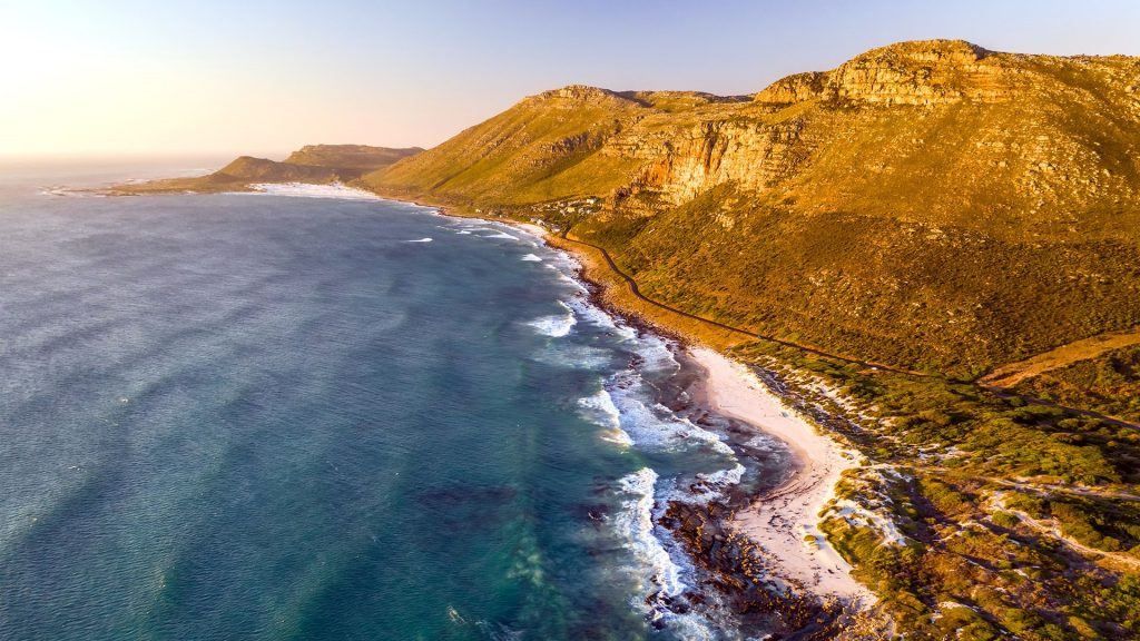 Aerial view of Scarborough Beach during sunset, South Africa