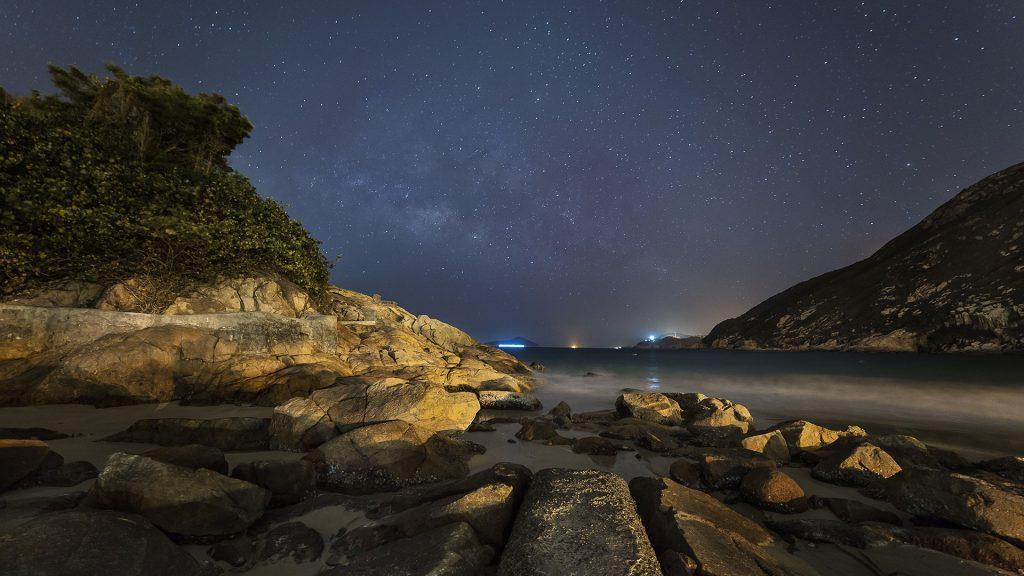 Milky way above Shek O Beach in Hong Kong