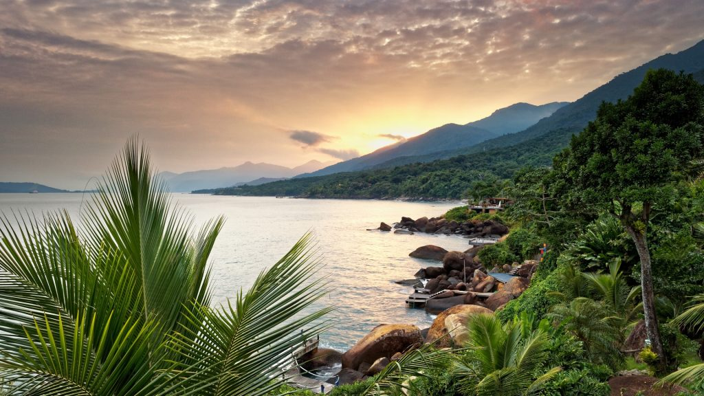View of Ilhabela Island coastline at sunset in Sao Paolo state, Brazil