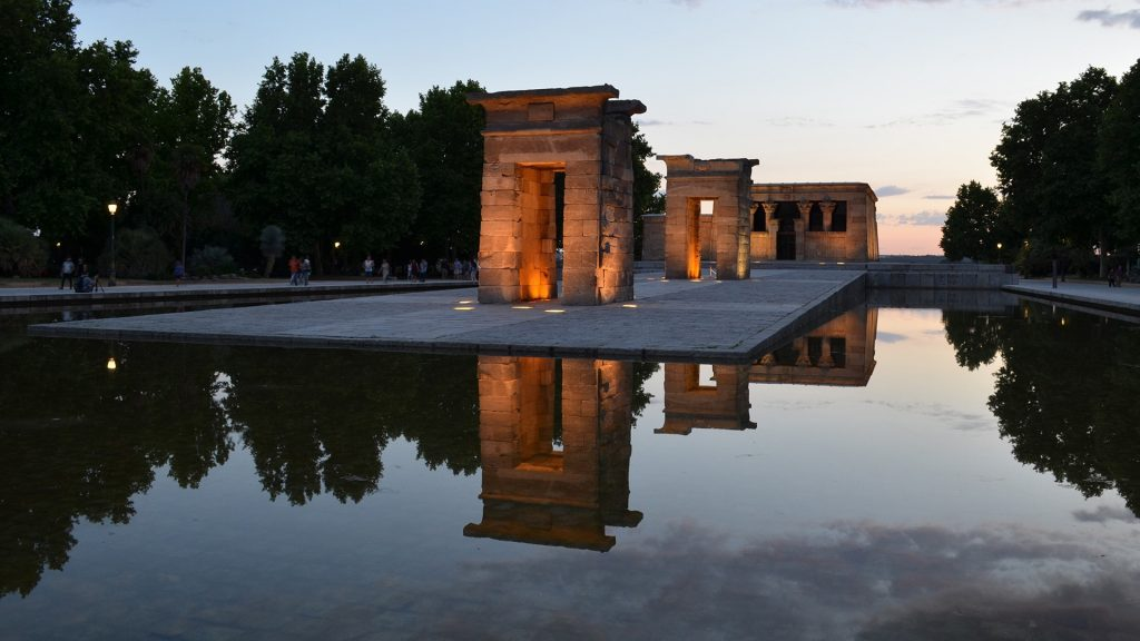 Temple of Debod ancient Egyptian temple rebuilt in Madrid, Spain