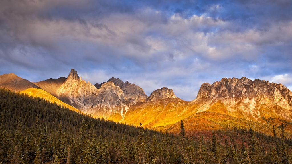 Autumn sunset glow on Snowden Mountain in the Brooks Range, Dalton Hwy, Alaska, USA