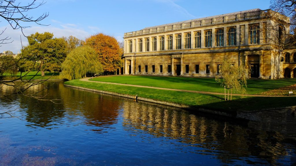The Wren Library of Trinity College view from River Cam, Cambridge, England, UK