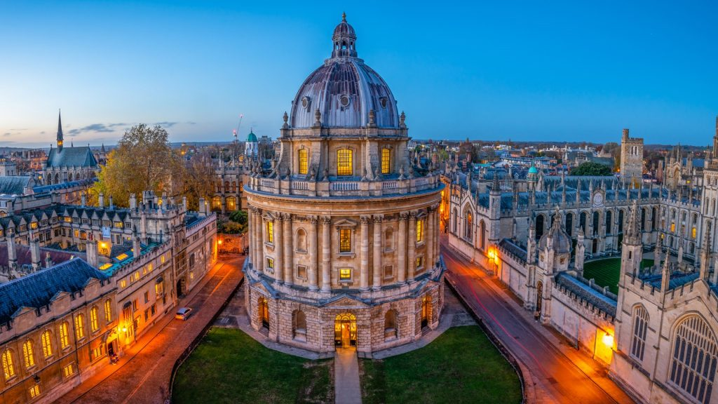 Evening view of Radcliffe Camera in Oxford University, England, UK
