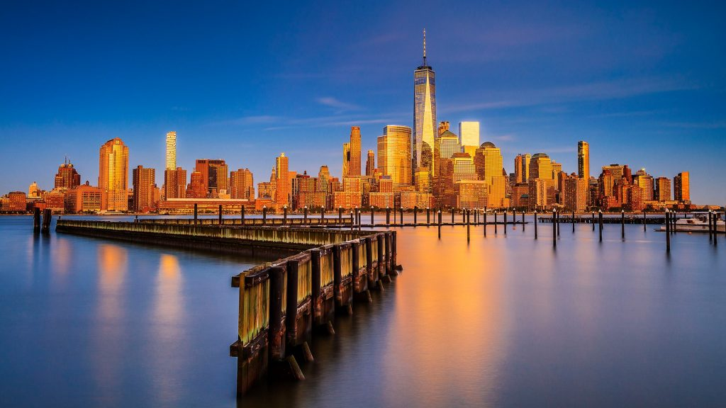 Lower Manhattan skyline with One World Trade Center and Freedom Tower, New York City, USA