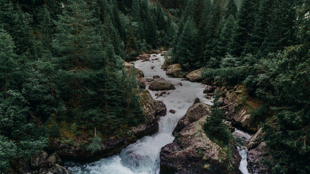 Water flowing from Lai da Marmorera Reservoir, canton of Grisons (Graubünden), Switzerland
