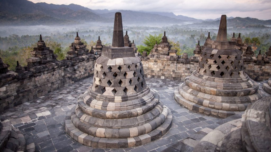 Bell-shaped stupas in Borobudur temple, Java island, Indonesia
