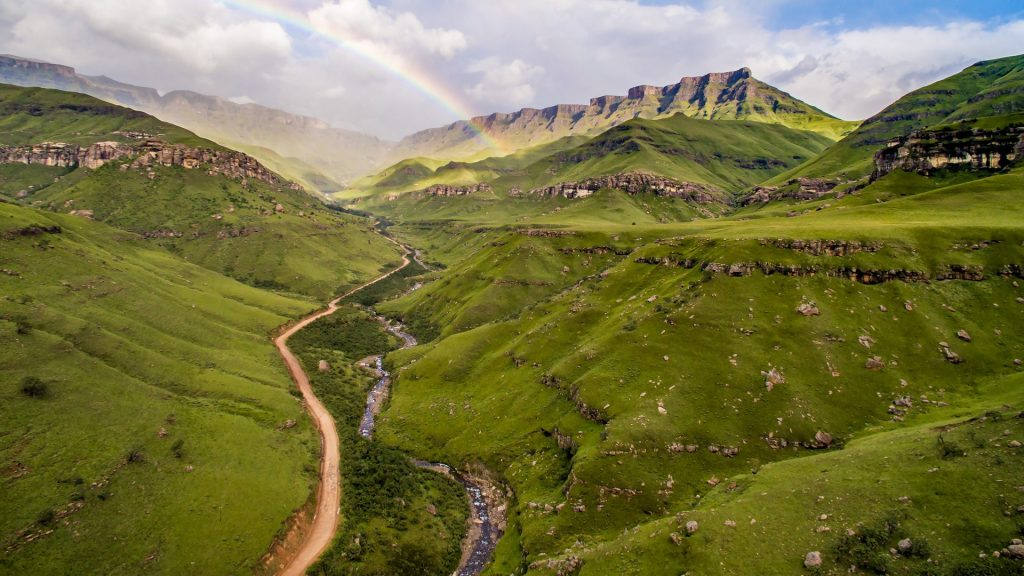 Rainbow over Sani Pass valley, KwaZulu-Natal, South Africa