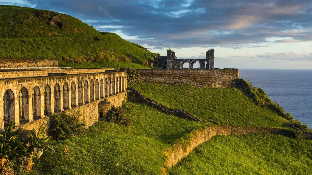 Brimstone hill fortress by sea against sky, Saint Kitts and Nevis, Caribbean