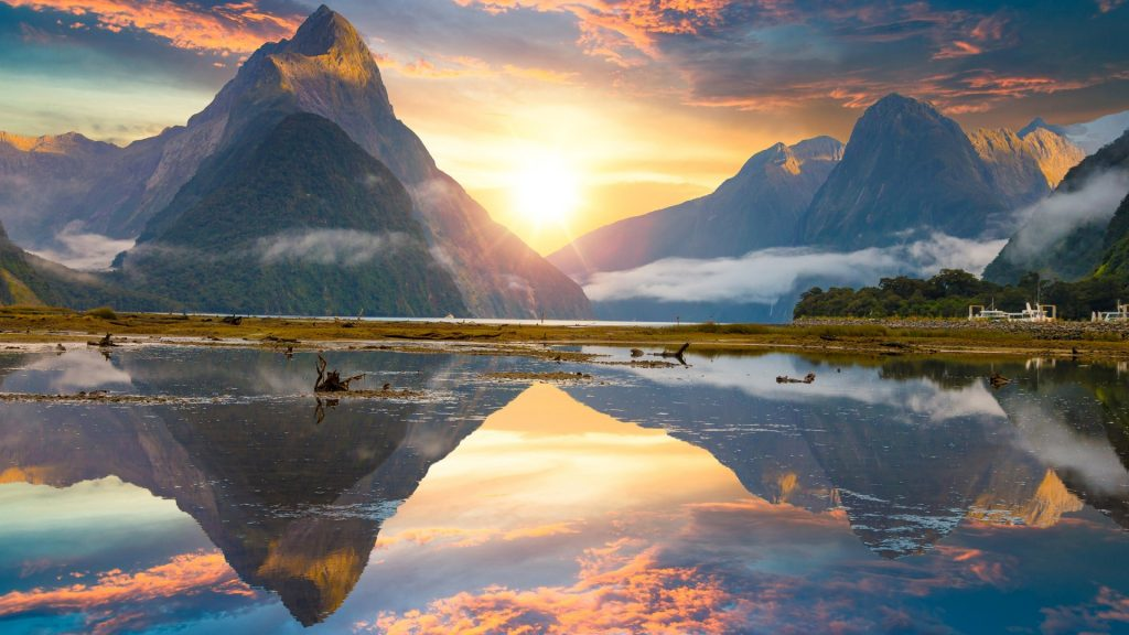 Mitre Peak rising from the Milford Sound fiord, Fiordland national park, New Zealand