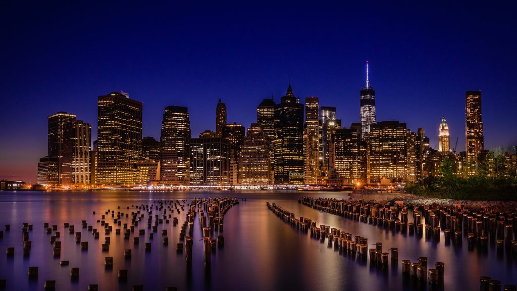 Brooklyn Bridge Park with Manhattan skyline during night, New York City, USA