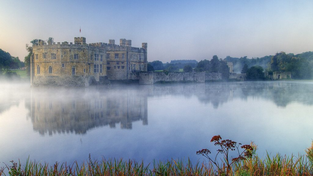 Leeds castle taken just before sun appeared over the hill, Maidstone, Kent, England, UK