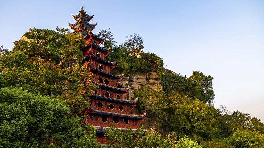 View of Shibaozhai Pagoda on Yangtze River near Wanzhou, Chongqing, China