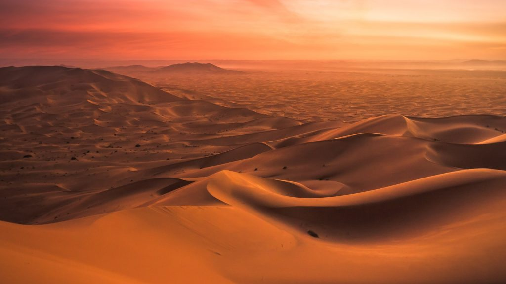 Sunset from a High Dune in the Moroccan desert, Erg Chebbi, Morocco
