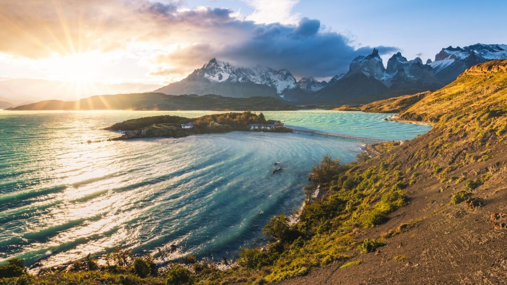 Lake Pehoe and the Cordillera del Paine at sunset, Torres del Paine, Chile