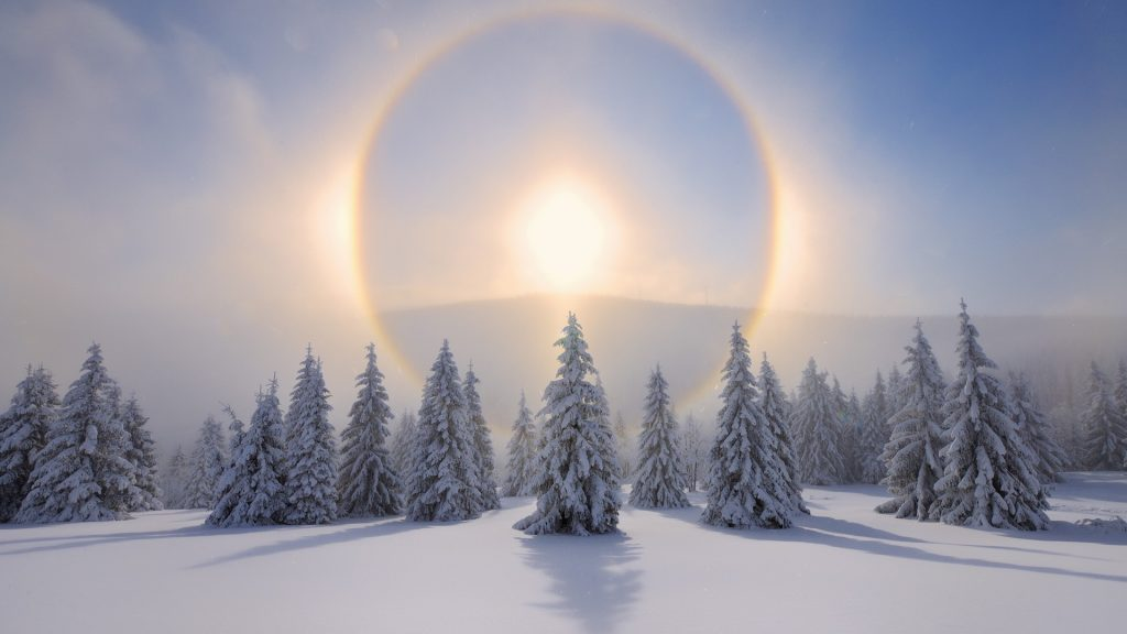 Halo around sun with winter landscape, Oberwiesenthal, Ore Mountains, Saxony, Germany