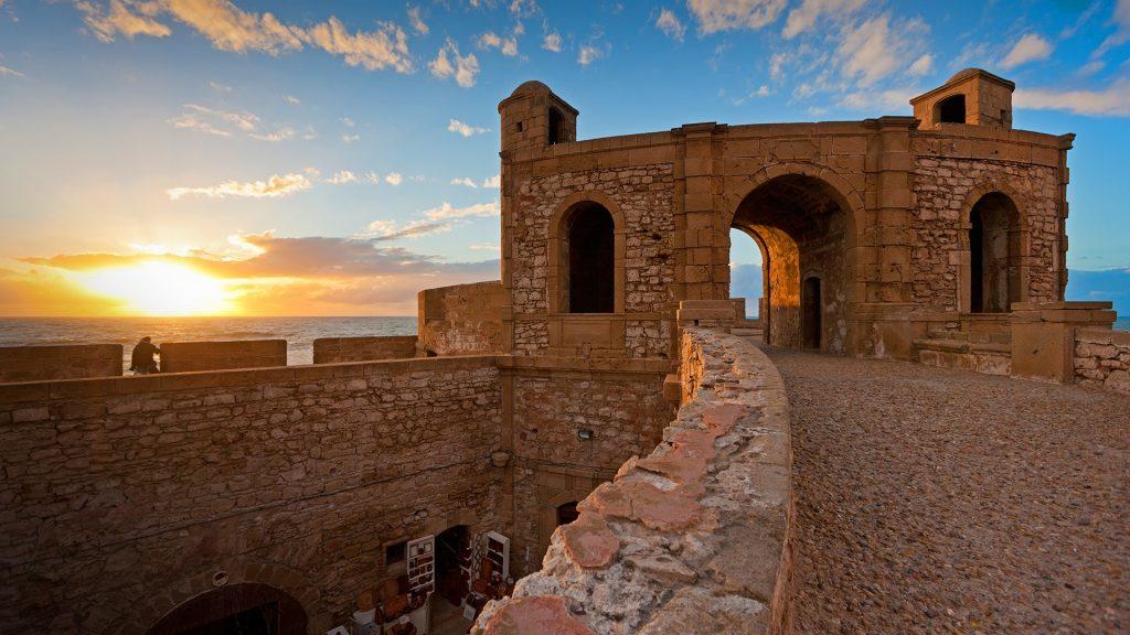 Sunset over the Atlantic Ocean at Essaouira Fortress, Scala de la Kasbah, Morocco