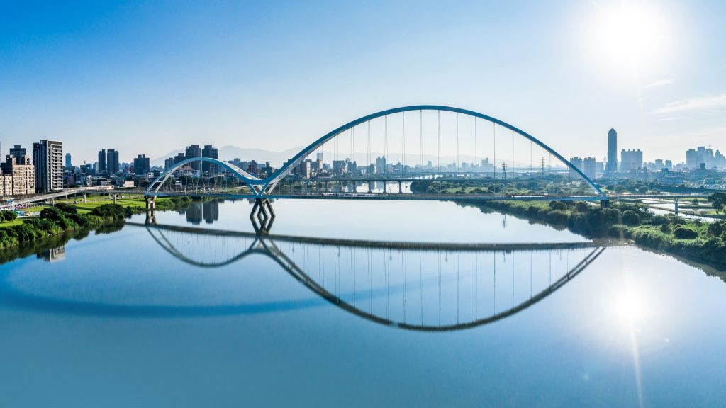 Pedestrian Crescent Bridge with a glass-bottom trail, Tamsui River, New Taipei City, Taiwan