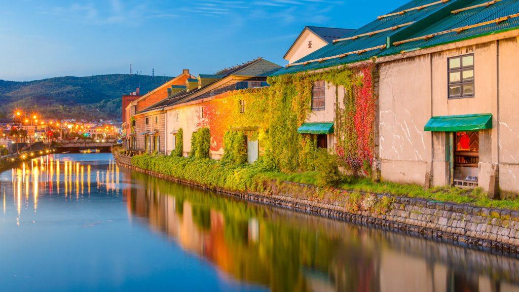 Historic Otaru Canals in Otaru at twilight, Hokkaido Prefecture, Japan