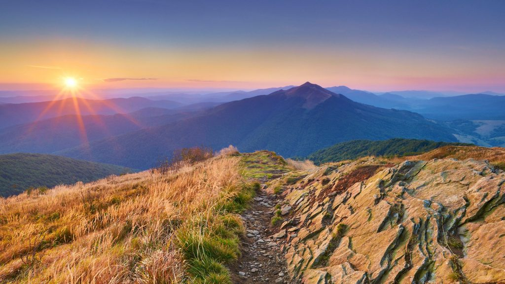 View over the top of the mountains at sunset, Bieszczady Mountains, Poland