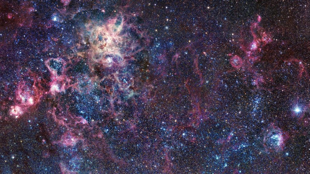 NGC 2070 large open cluster in the centre of the Tarantula Nebula in the Large Magellanic Cloud