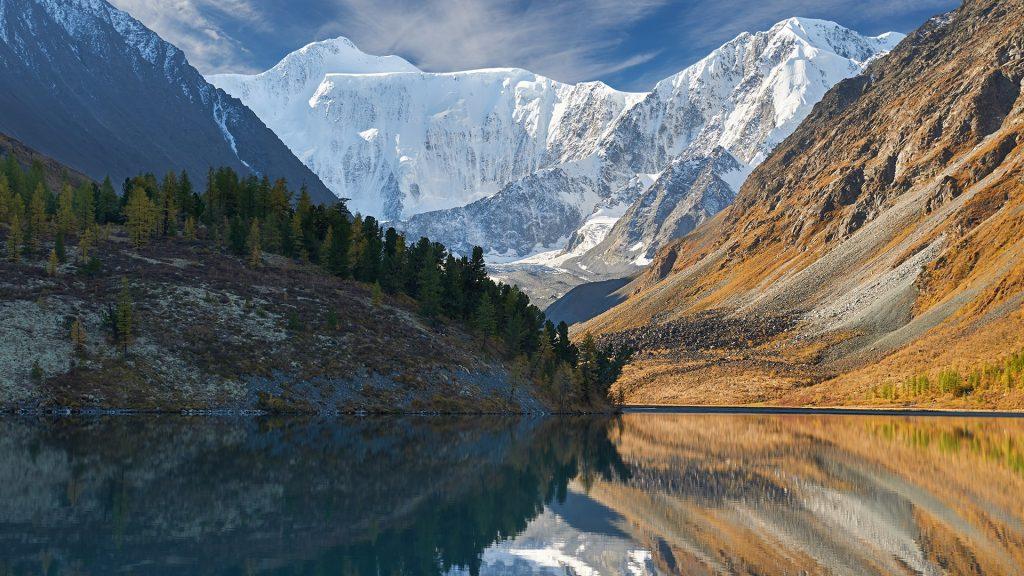 Autumn landscape of Akkem Valley with mount Belukha, Katunsky ridge, Altai, Russia