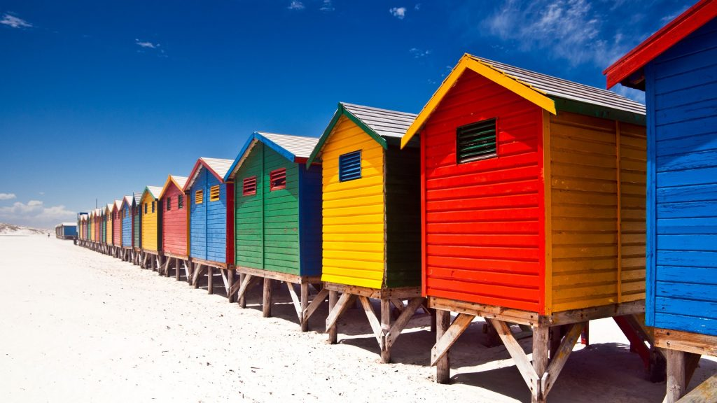 Muizenberg colorful beach huts in Cape Town, False Bay, South Africa
