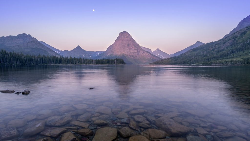 Sunrise at Two Medicine Lake in Glacier National Park, Montana, USA