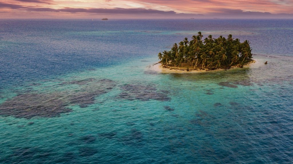 Aerial view of a tropical desert island, San Blas Islands, Guna Yala, Panama