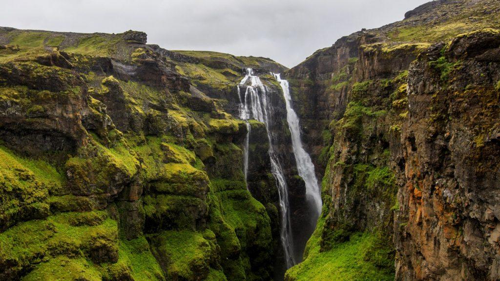 Glymur waterfall at the rear end of the Hvalfjörður fjord, Iceland