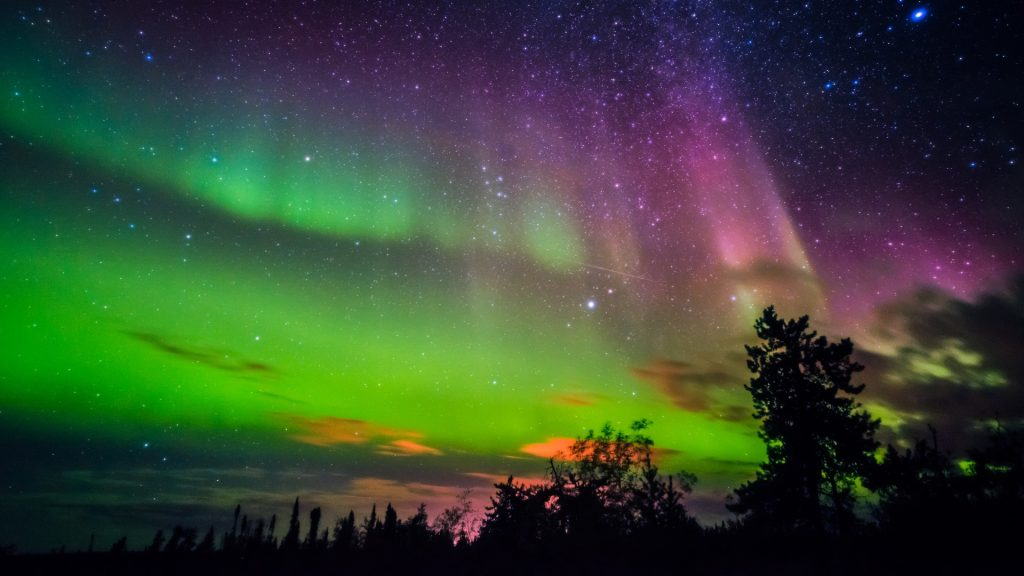 Aurora borealis, northern lights in Yellowknife, Canada