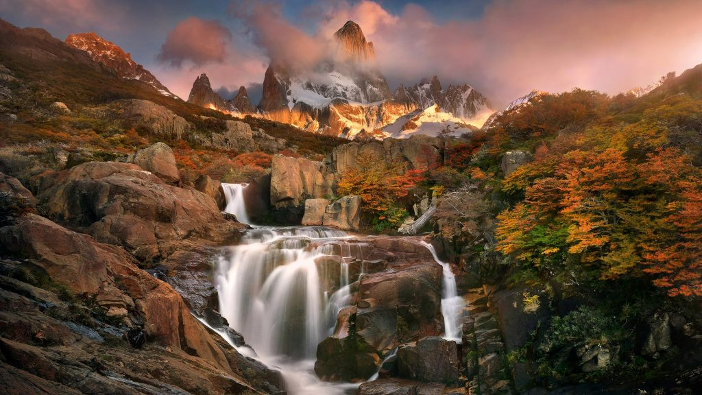 Waterfall with Mount Fitz Roy in autumn, Los Glaciares National Park, El Chaltén, Argentina