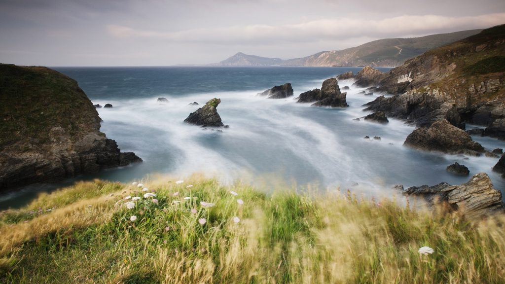 Landscape at the sea coast in a windy day, Ferrol, Galicia, Spain