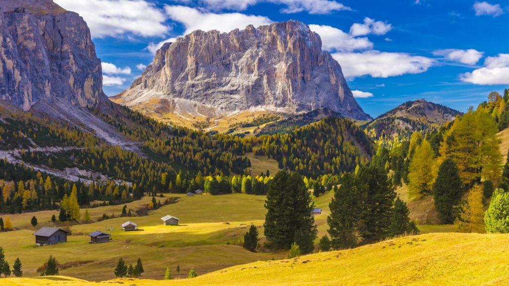 Sassolungo mountain (Langkofel) and Val Gardena, Dolomites of South Tyrol, Italy