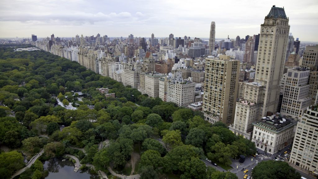 Aerial view of Central Park and upper east side in Manhattan, New York City, USA