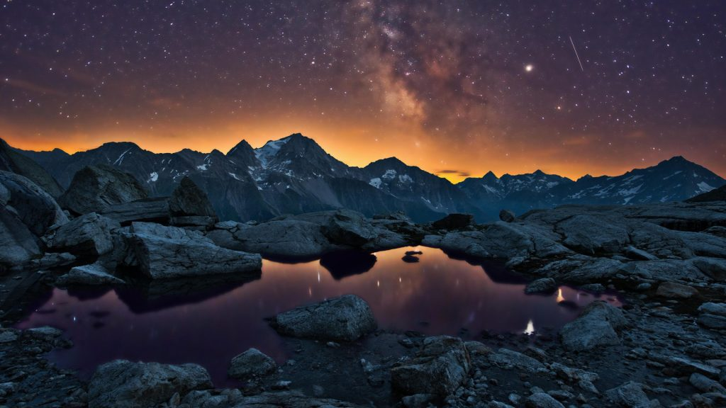 Starry sky with Milky Way over Uri mountains, Maderanertal, Switzerland