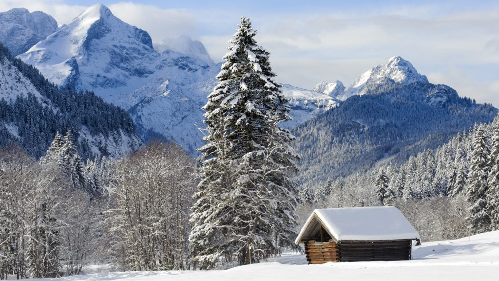 Landscape at Wetterstein mountains nearby castle Elmau at winter, Bavaria, Germany