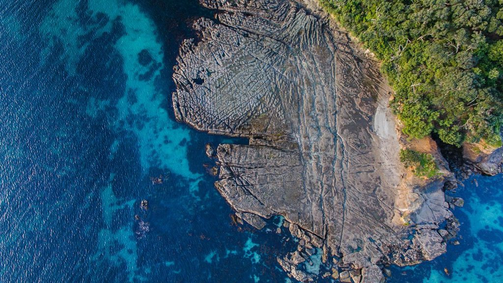 Top view of Goat Island or Te Hāwere-a-Maki, north of Auckland, New Zealand