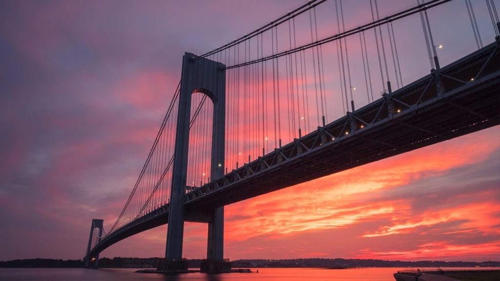 Verrazzano-Narrows bridge in Brooklyn and Staten Island in New York at sunset, USA