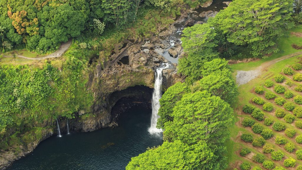 Aerial view of Rainbow (Waiānuenue) Falls in Hilo, Big Island, Hawaii, USA